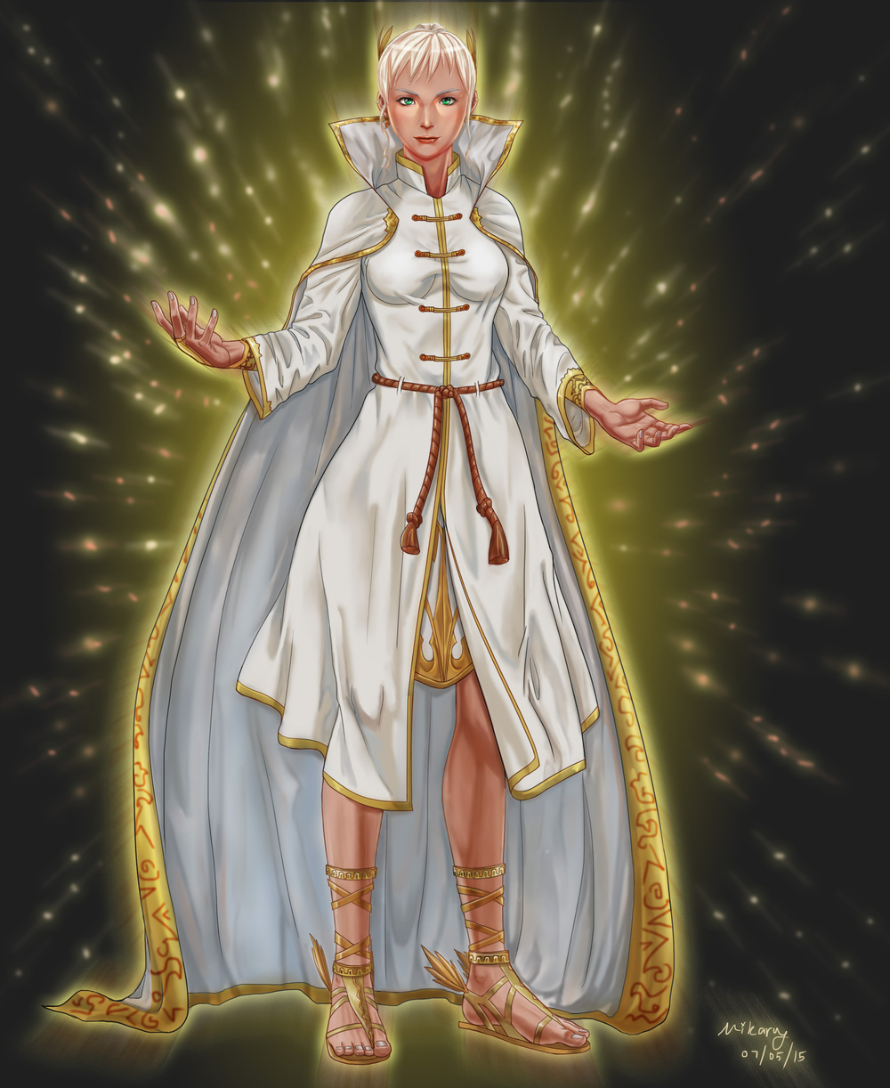 Lily, a priestess looking lady. Tall. Tan skin. White and gold robes. Glowing gold. A nice lady, with her nice white hair and general invitingness. She'll take advantage of you, though. By https://m1karu.deviantart.com