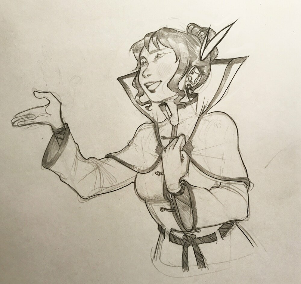 A pencil drawing of Lily in the middle of a speech. She's really into it. Open mouth, eyes closed, clasping the collar on her robes. She's really putting her heart into this speech. By @heyclock@twitter.com
